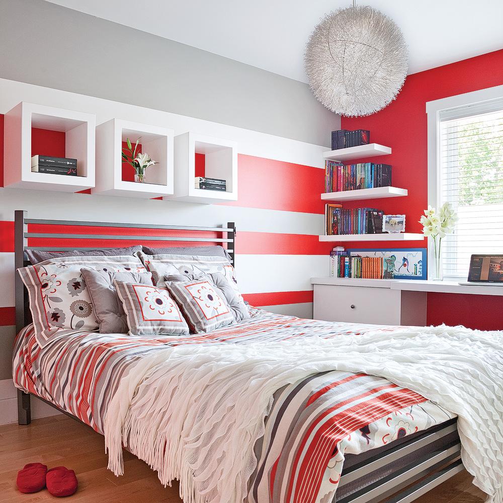 «Color zoning» en rouge, gris et blanc