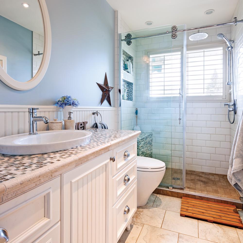 Salle de bain au look champêtre bord de mer - Je Décore