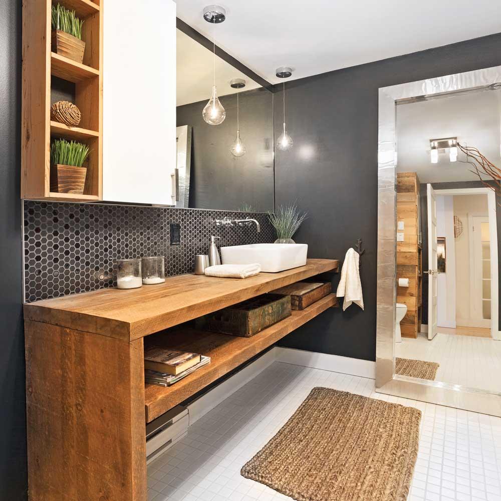 Une salle de bain rustique chic - Je Décore