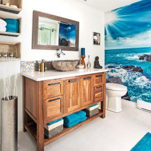 Dépaysement grandeur nature dans la salle de bain
