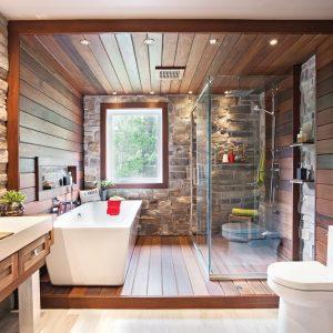 Salle de bain rustique tout de pierre et de bois