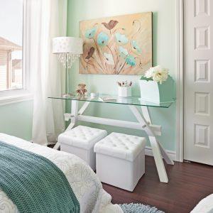 Vague de menthe et de turquoise dans la chambre