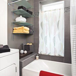 Rideaux sans couture pour la salle de bain