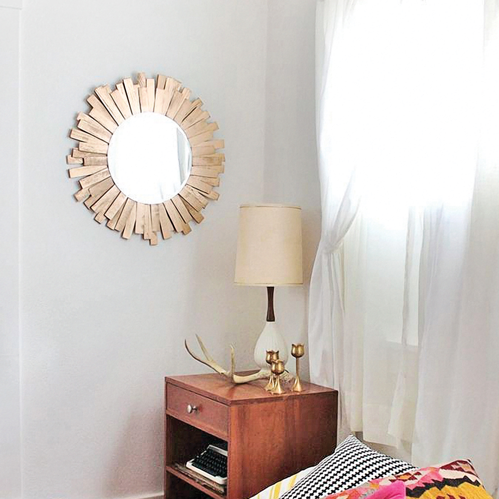 DIY – Miroir soleil doré