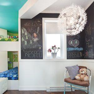 Peinture noire à effet tableau pour la chambre d'enfant