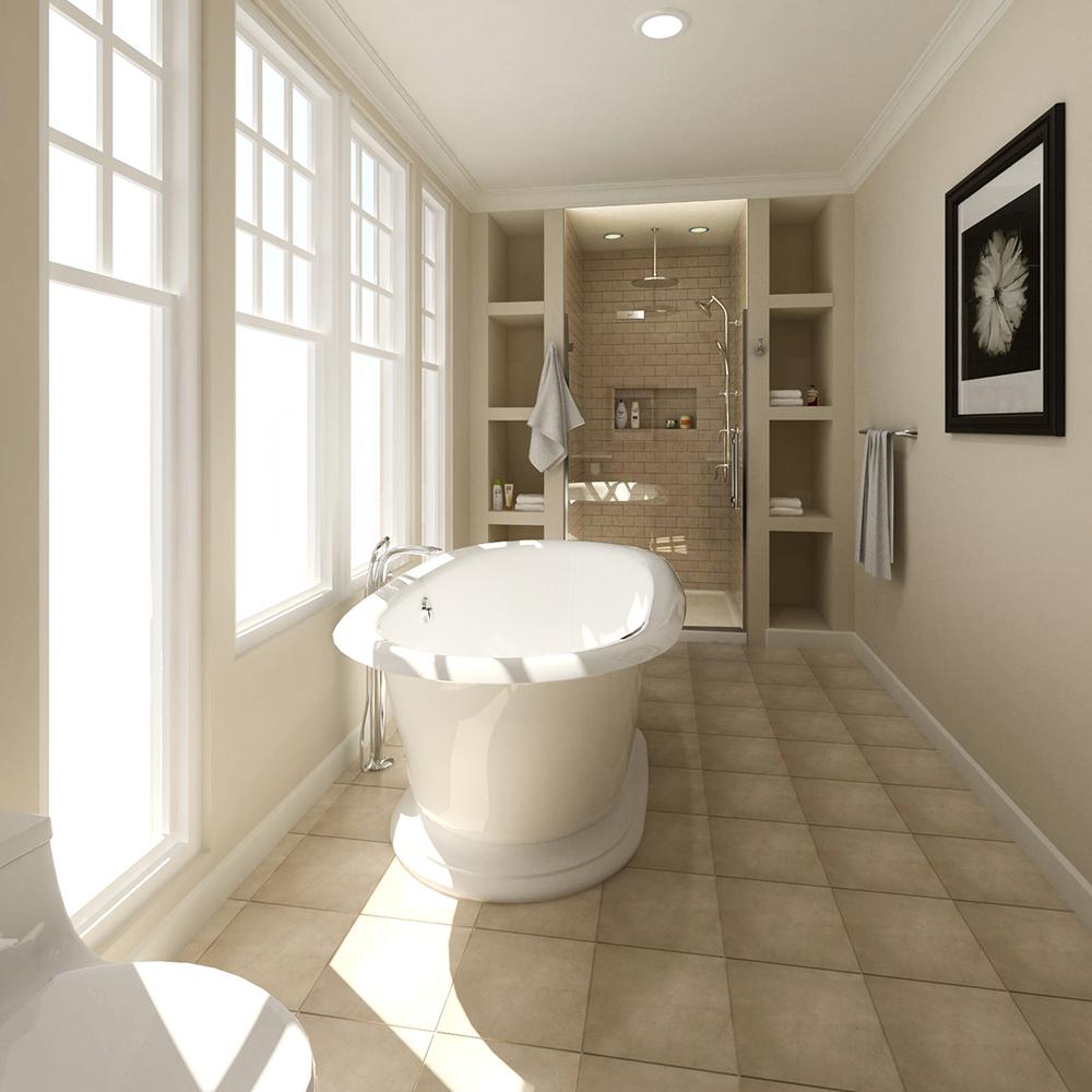 Parfaite monochromie pour la salle de bain
