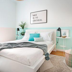 Chambre et peinture: le mur peint au tiers