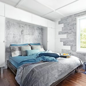 Un mélange de blanc et béton pour la chambre