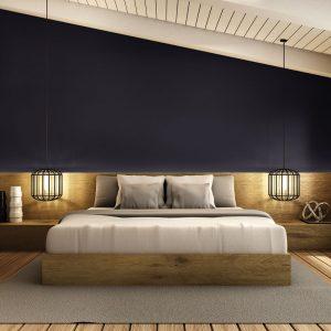 Noir somptueux pour une chambre enveloppante