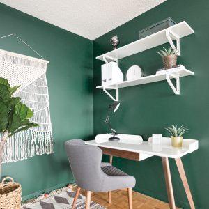 Un coin-bureau vert malachite