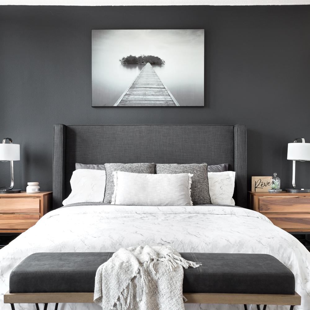 Gris charbon dans la chambre à coucher