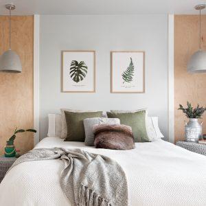 Nuances douces et paisibles dans la chambre à coucher