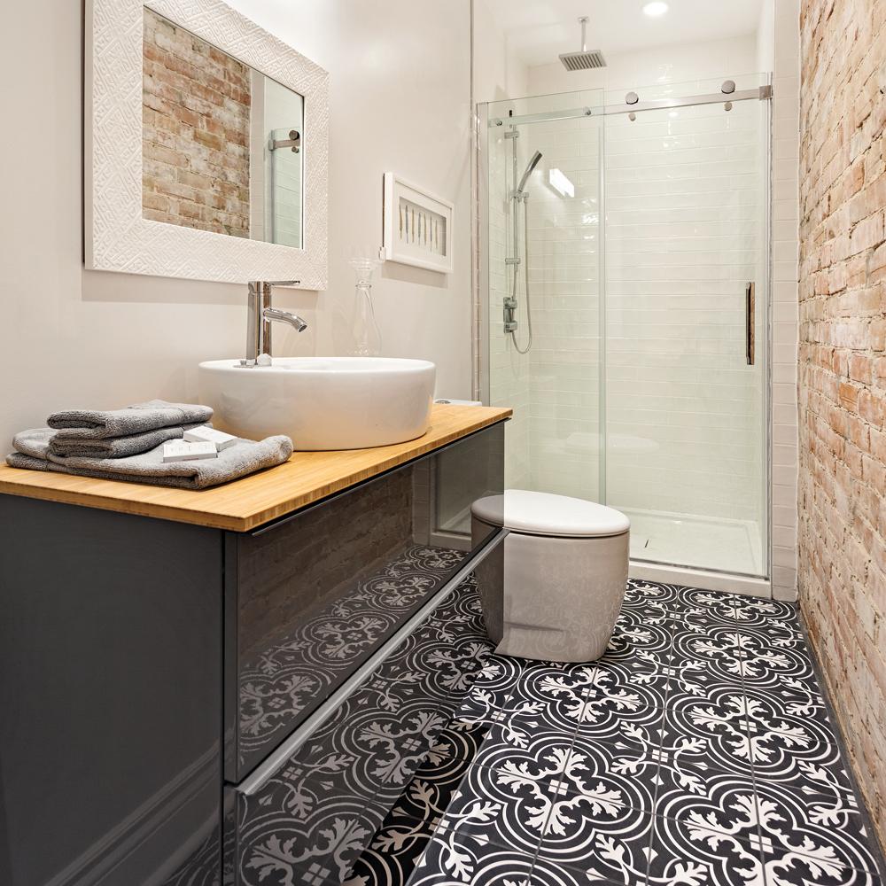 Salle De Bain Motif céramique à motif pour le plancher de la salle de bain - je