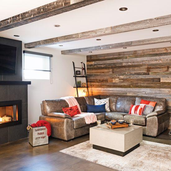 Salon de style rustique industriel avec mur en bois de grange