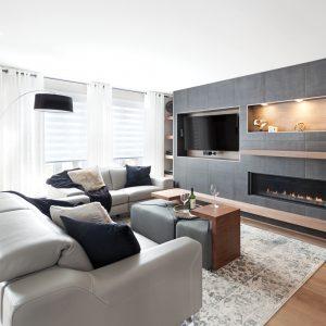 Salon moderne gris cosy et bois chaud