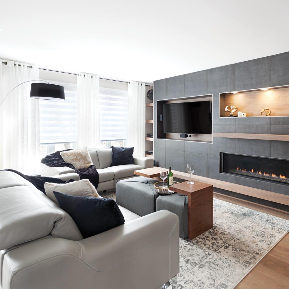 Salon moderne gris cosy et bois chaud - Je Décore