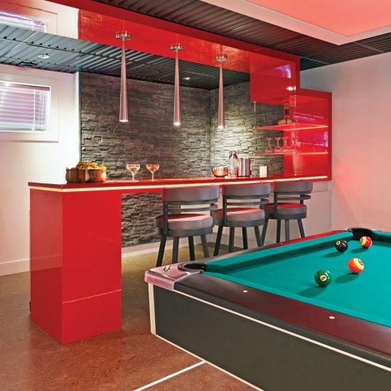 Bar illuminé au DEL au sous-sol