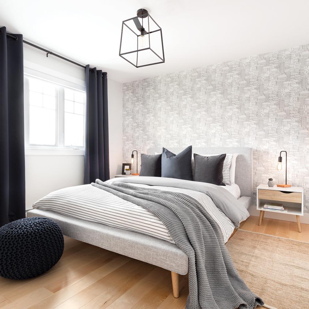 Chambre à coucher contemporaine en gris et noir - Je Décore