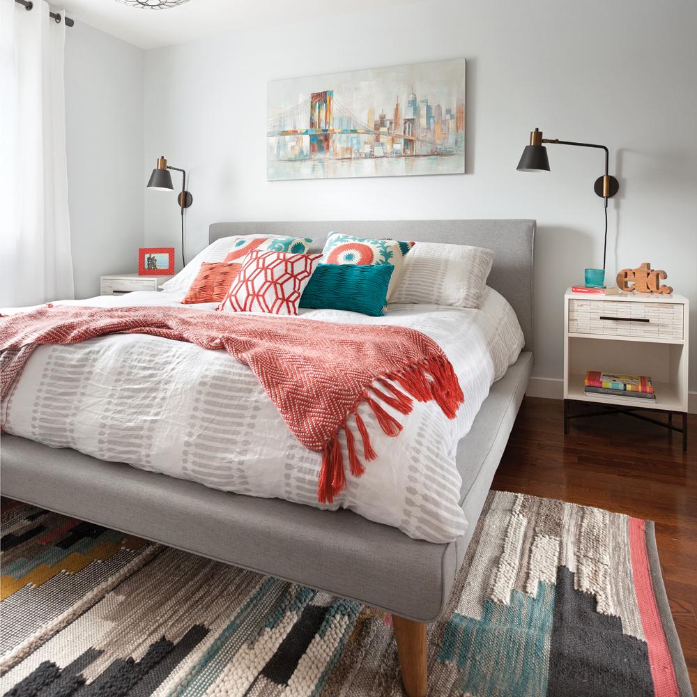Chambre chic et contemporaine en couleurs