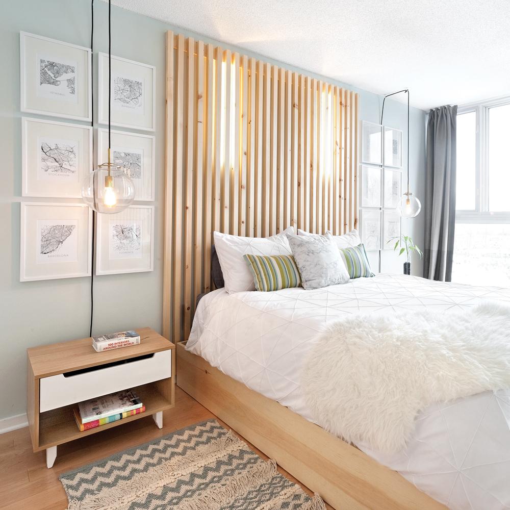 Douce ambiance dans une chambre à coucher aux nuances pastel