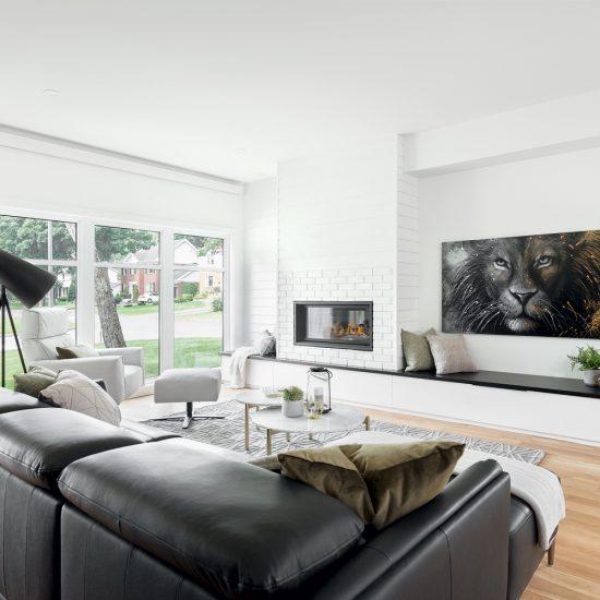 Salon contemporain couleur brume glacée
