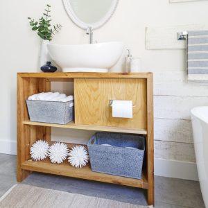 Meuble-lavabo en bois chaleureux