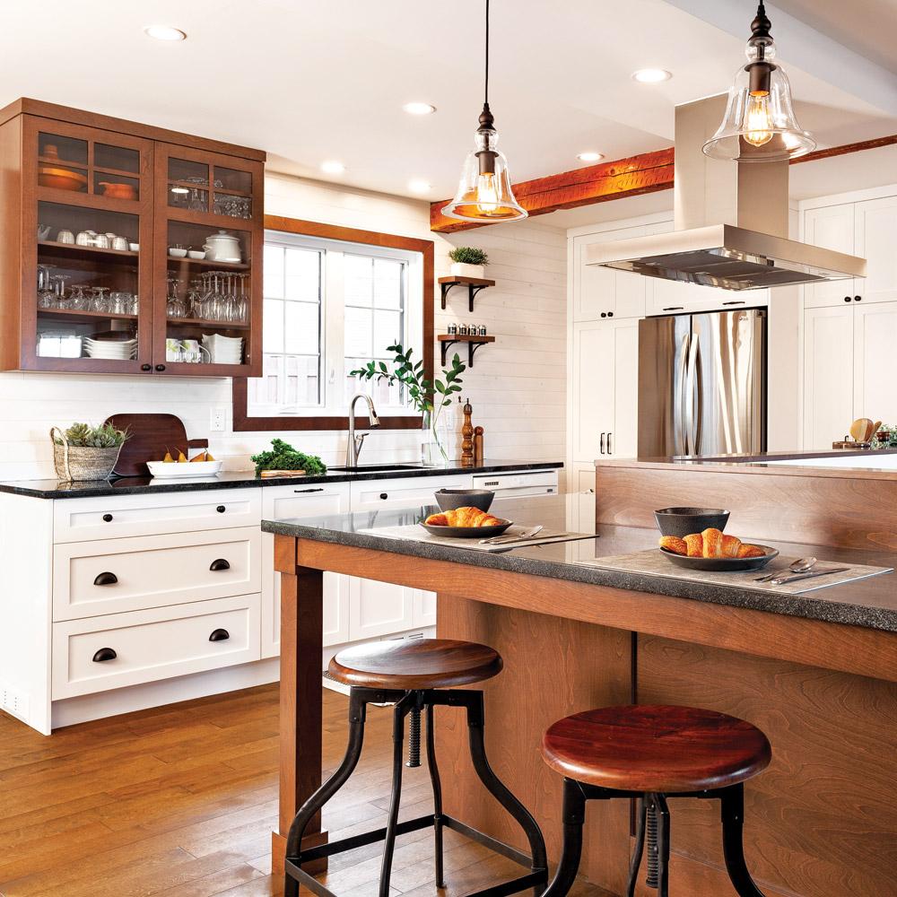 Avant-après: Cuisine ergonomique et chaleureuse