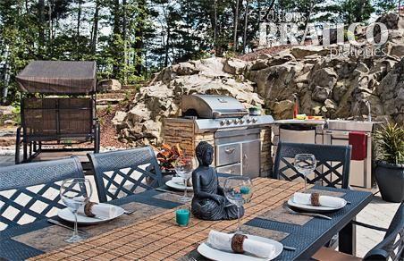 Cuisine extérieure dans un paysage de pierres