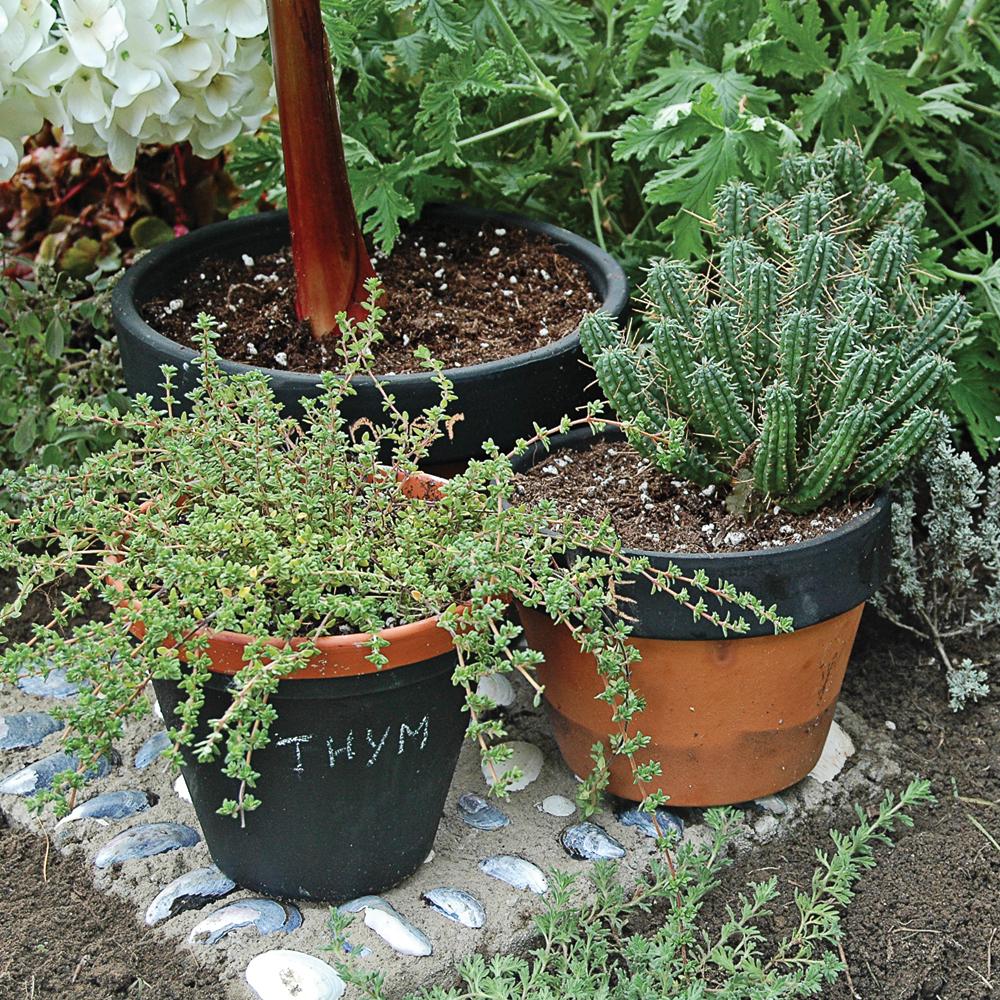 diy pots fines herbes en peinture la craie je jardine. Black Bedroom Furniture Sets. Home Design Ideas