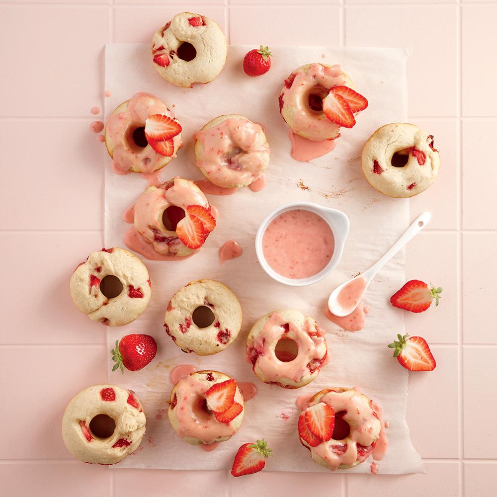 Beignes aux fraises cuits au four