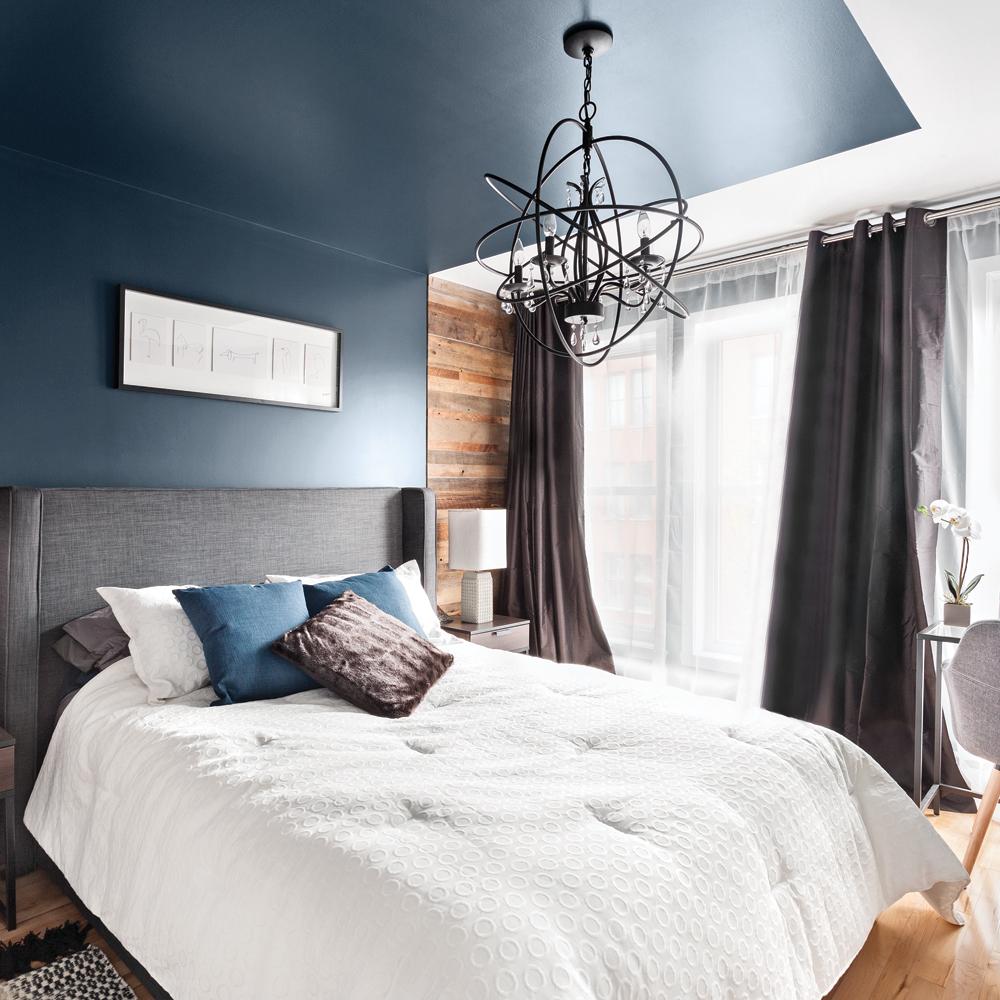Tendance chambre à coucher plafond peint